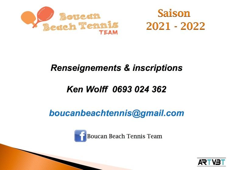 COORDONNEES COLLECTIFS CYCLE 1 - BOUCAN BEACH TENNIS TEAM - ARTVBT - Planning 2021-2022
