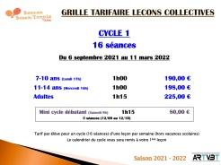 TARIFS COURS COLLECTIFS CYCLE 1 - BOUCAN BEACH TENNIS TEAM - ARTVBT - Planning 2021-2022