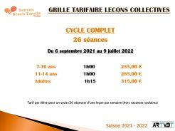 tarifs cycle complet - COURS COLLECTIFS CYCLE 1 - BOUCAN BEACH TENNIS TEAM - ARTVBT - Planning 2021-2022